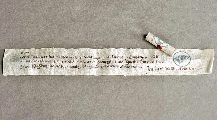 Carta de Jon Nieve a Sansa en Juego de Tronos