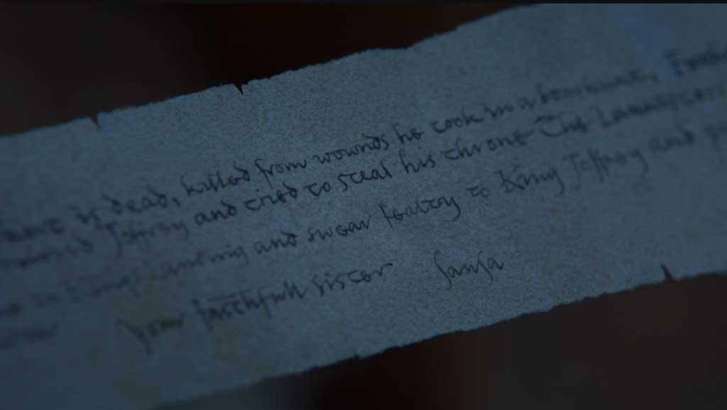 Carta que encuentra Arya en el 7x05 de Juego de Tronos