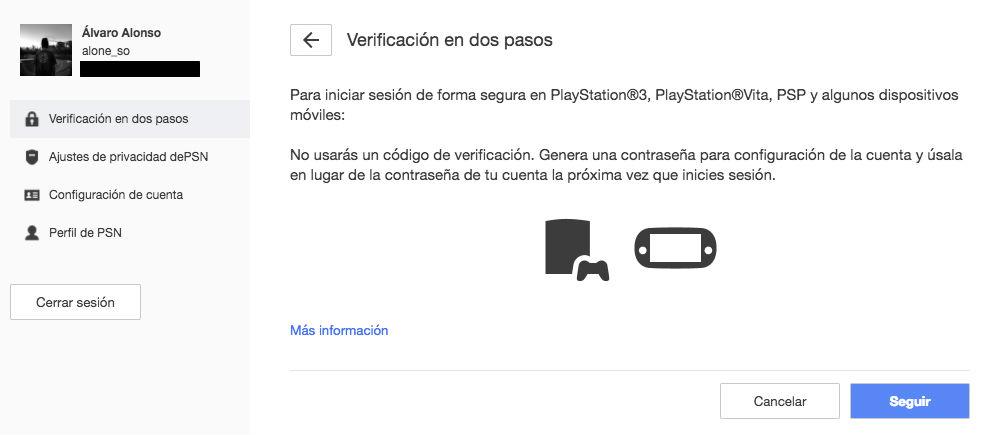 Verificación 2 pasos PS4