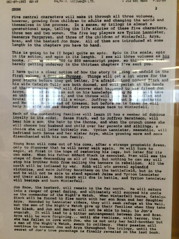 Esquema original de George R.R. Martin sobre Juego de Tronos