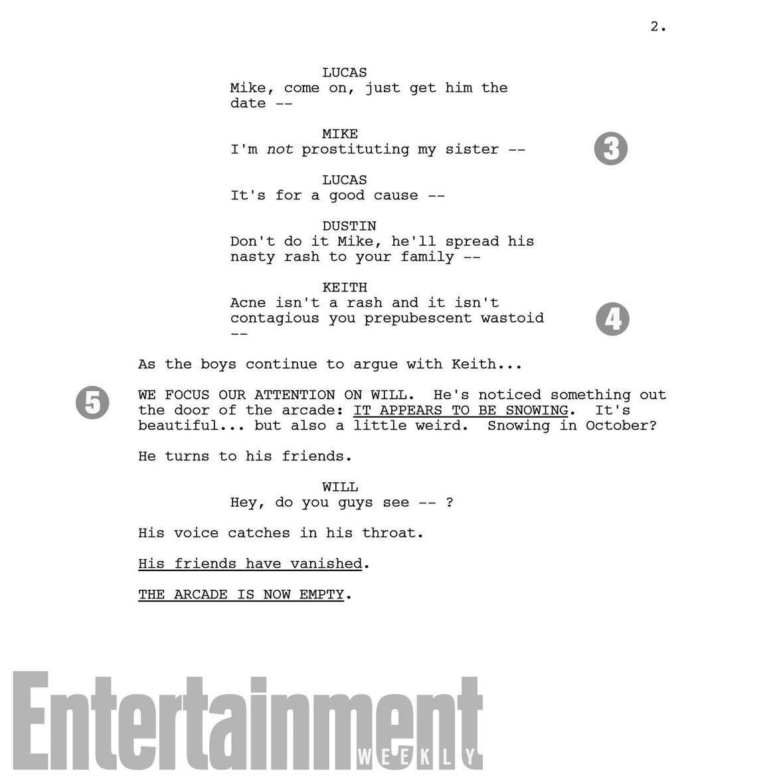 Fragmento de guión del 2x01 de Stranger Things