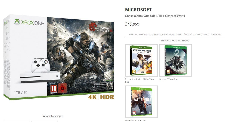 Xbox One S + 4 juegos por 349 €