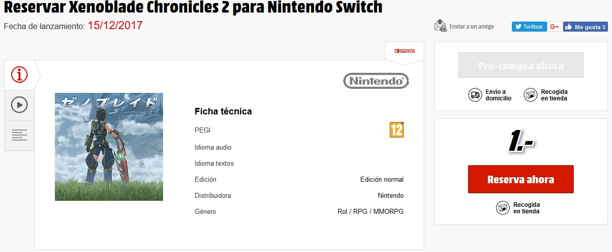 Xenoblade Chronicles 2 en Mediamarkt
