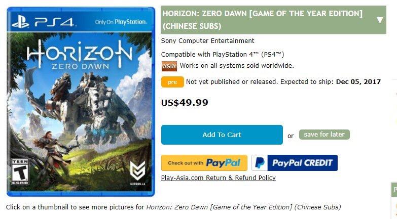 Horizon Zero Dawn GOTY filtrada por Play-Asia