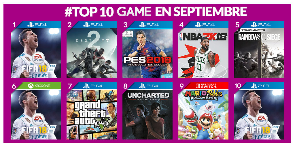 Los más vendidos de septiembre en GAME
