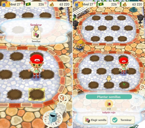 Animal Crossing Pocket Camp - Plantar flores