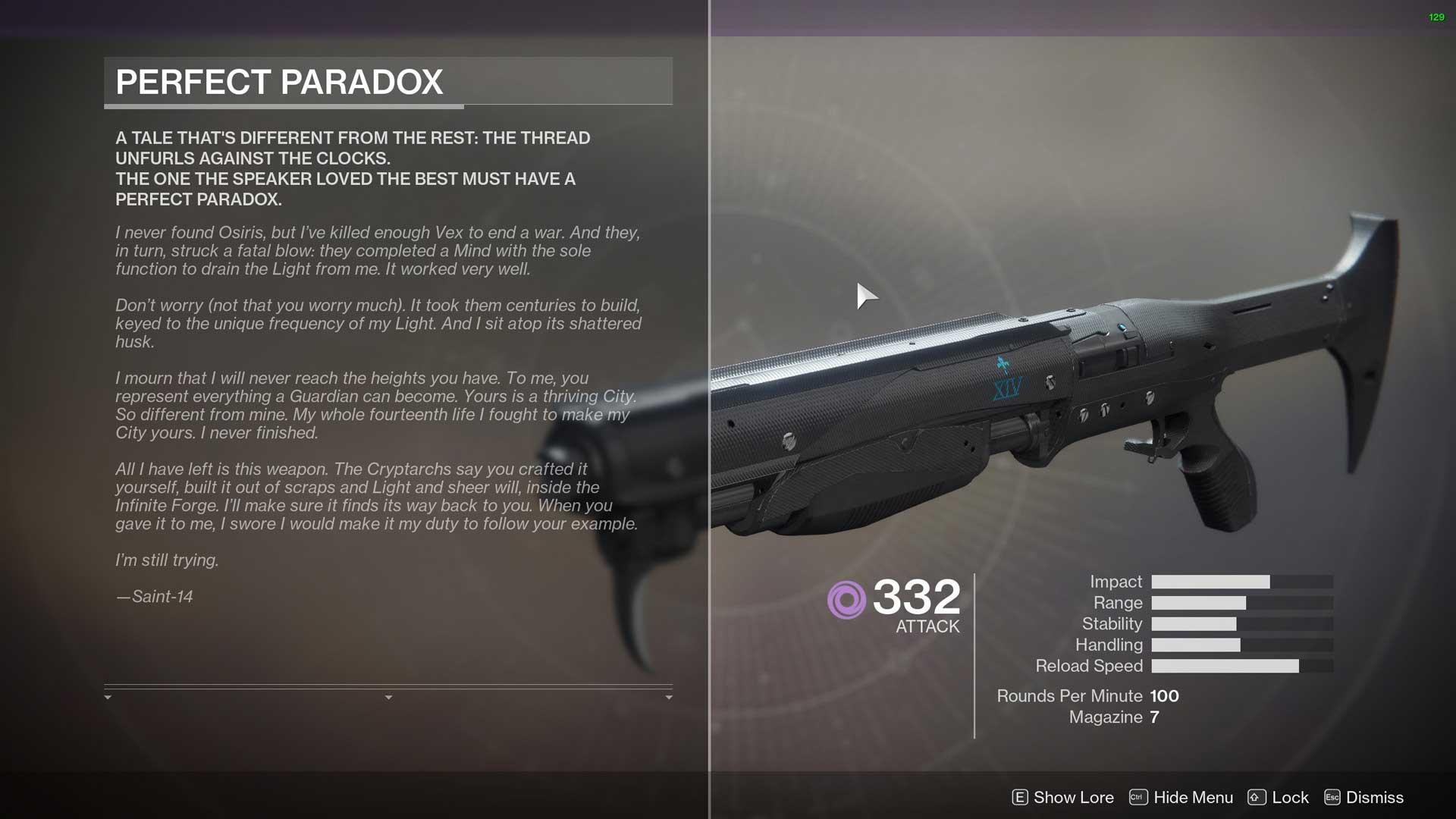 Escopeta Paradoja Perfecta Destiny 2