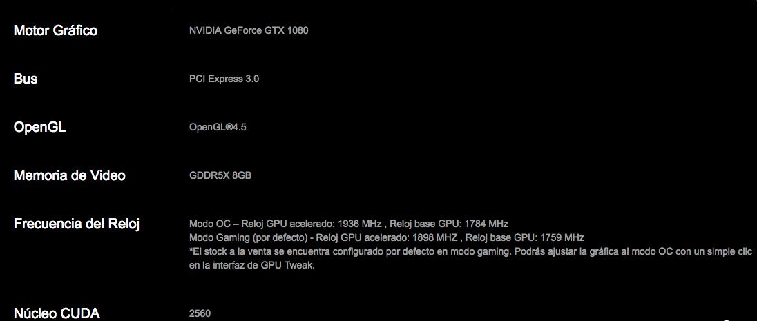 Especificaciones ASUS GTX 1080