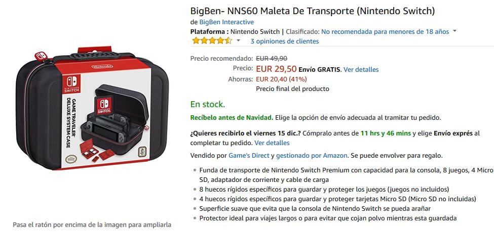 Maleta de Transporte NNS60 de BigBen para Nintendo Switch