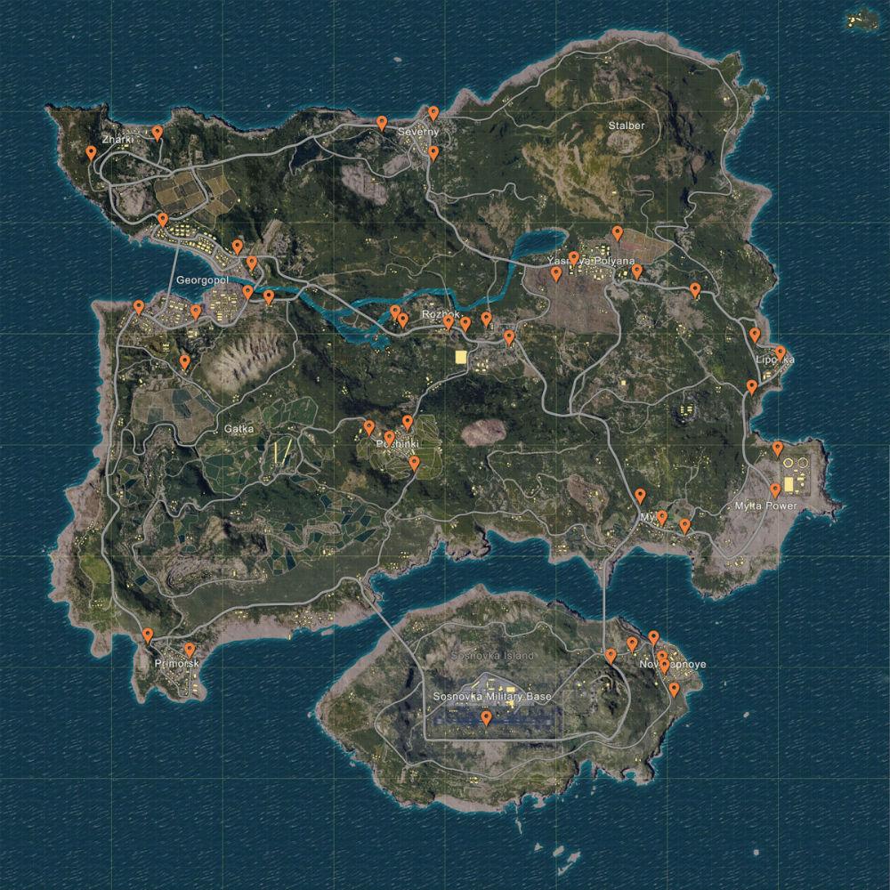 Mapa de vehículos de PUBG