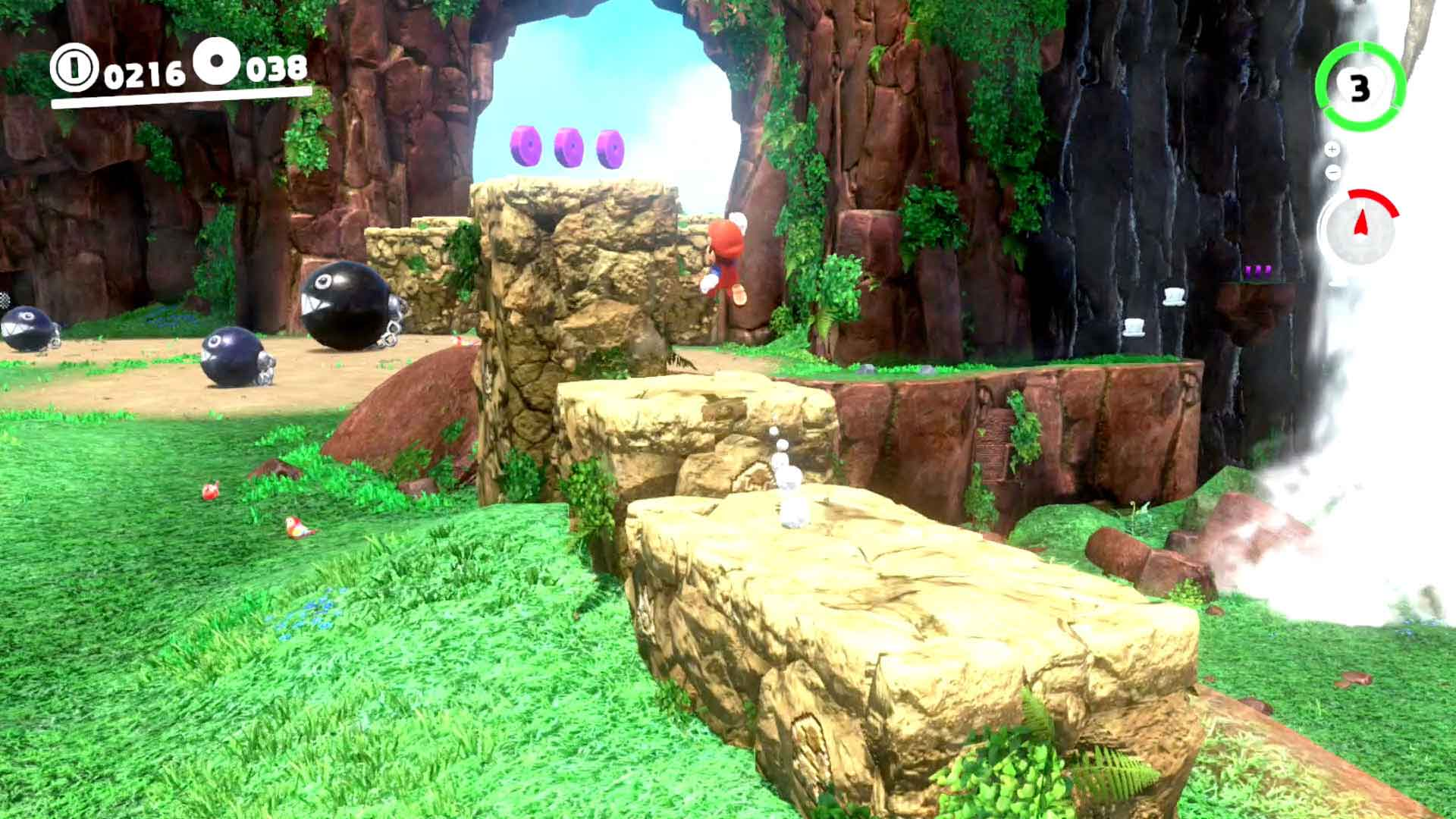 Super Mario Odyssey monedas moradas Cataratas