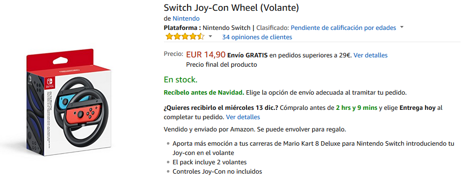 Volante Switch Joy-Con Wheel para Nintendo Switch