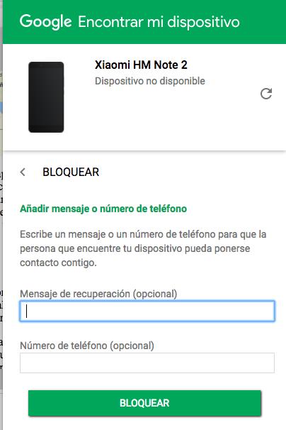 bloqueo remoto android