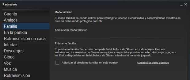 Modo Familiar en Steam