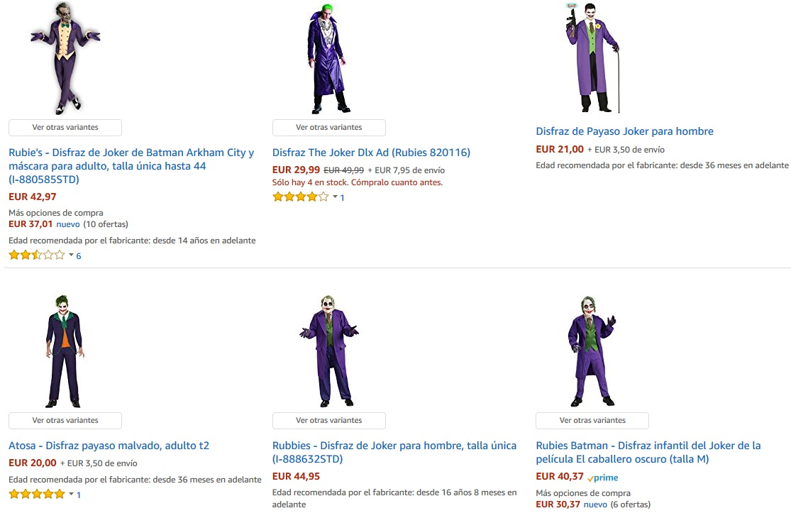 Disfraces del Joker en Amazon