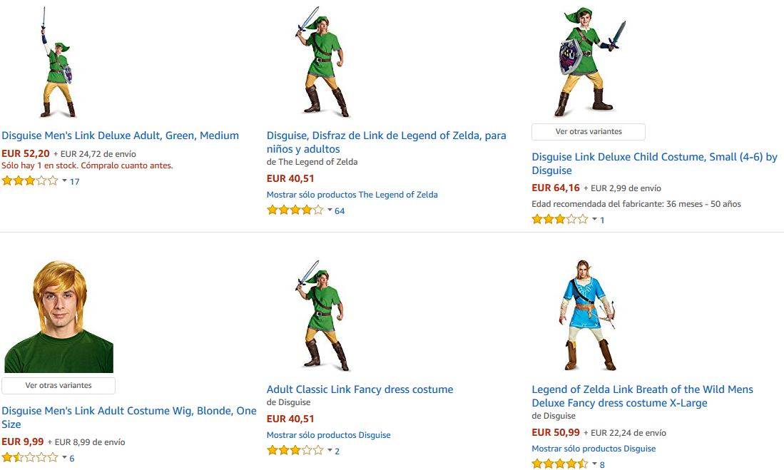 Disfraces de Link de The Legend of Zelda en Amazon