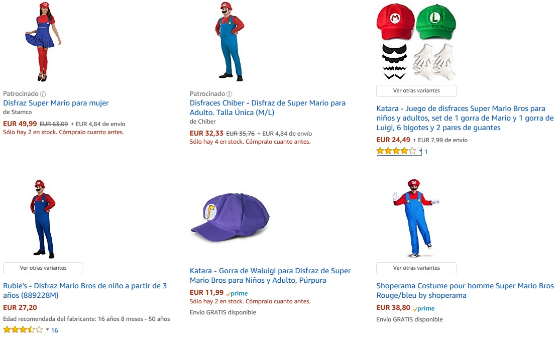 Disfraces de Super Mario en Amazon