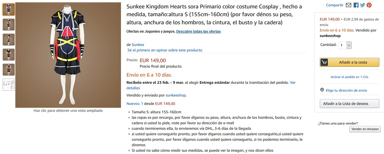 Disfraz de Sora de Kingdom Hearts en Amazon