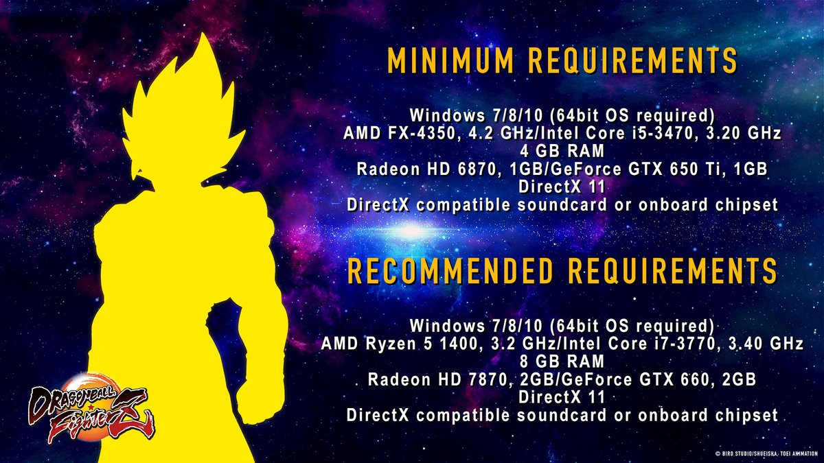 Requisitos mínimos y recomendados de Dragon Ball FighterZ en PC