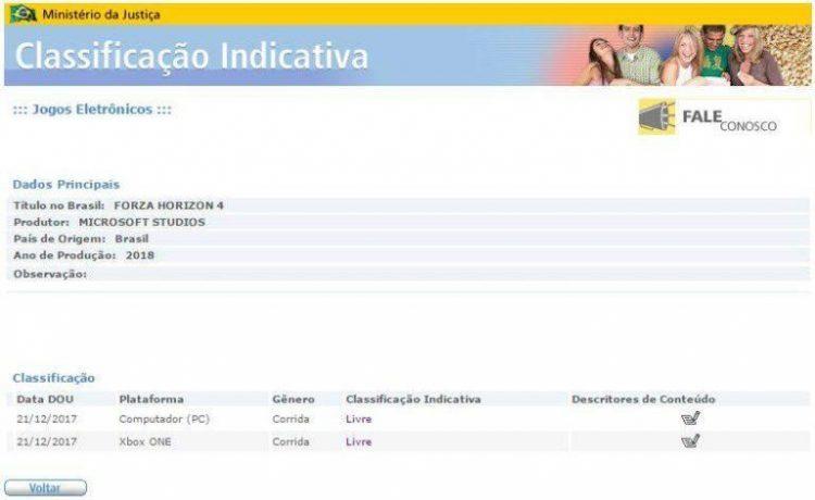 Forza Horizon 4 listado en Brasil