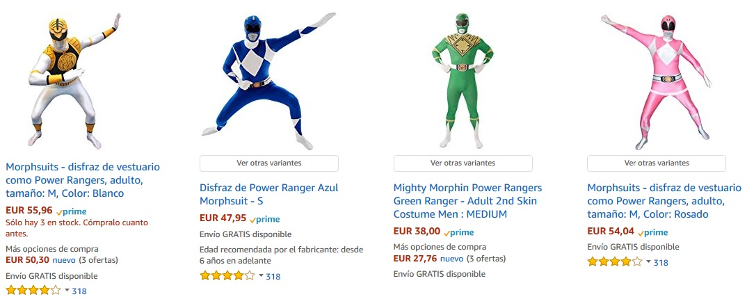 Disfraces en grupo - Power Rangers
