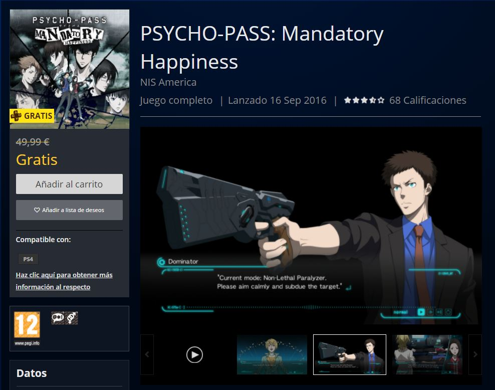 Psycho-Pass Mandatory Happiness gratis con PS Plus