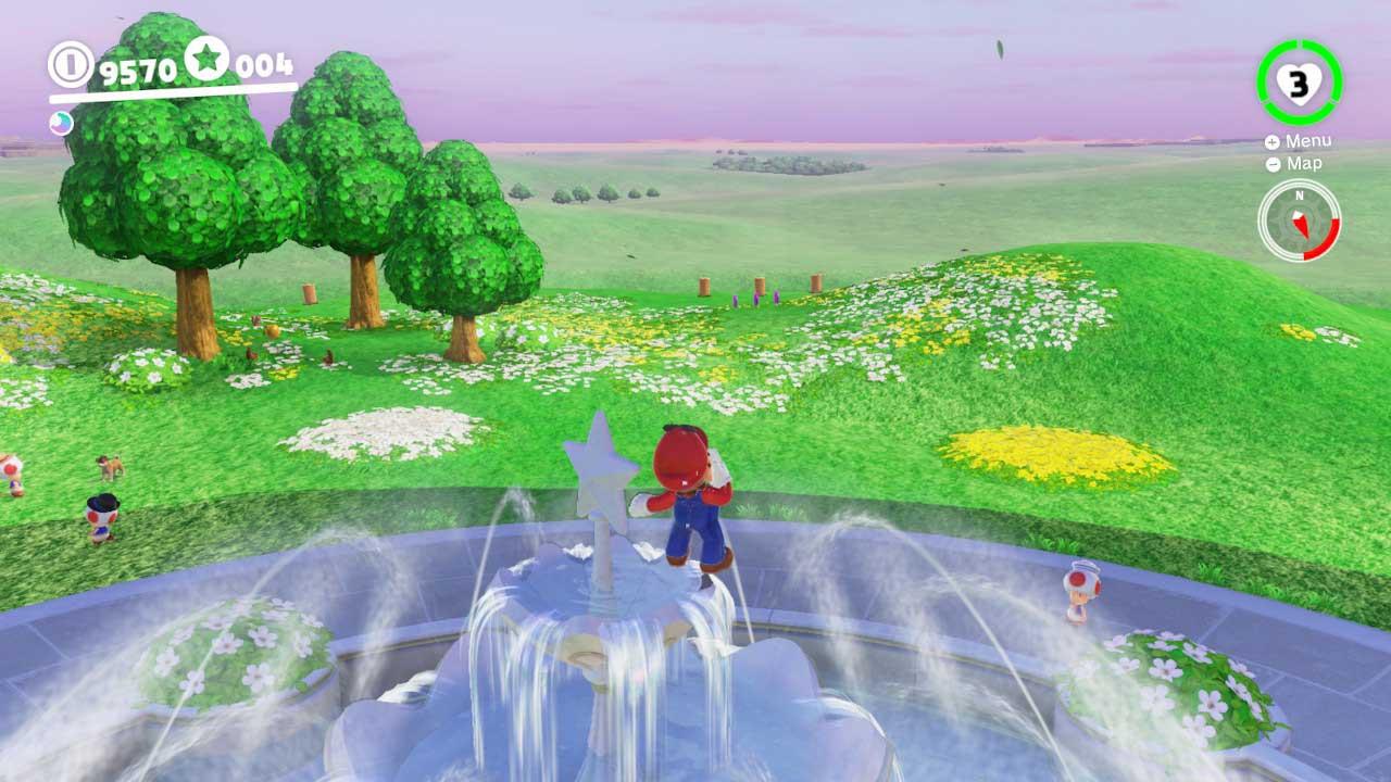 Super Mario Odyssey monedas moradas Reino Champiñón