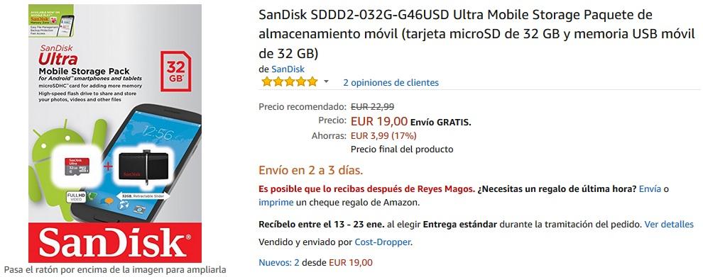 Tarjeta MicroSD SanDisk de 32GB