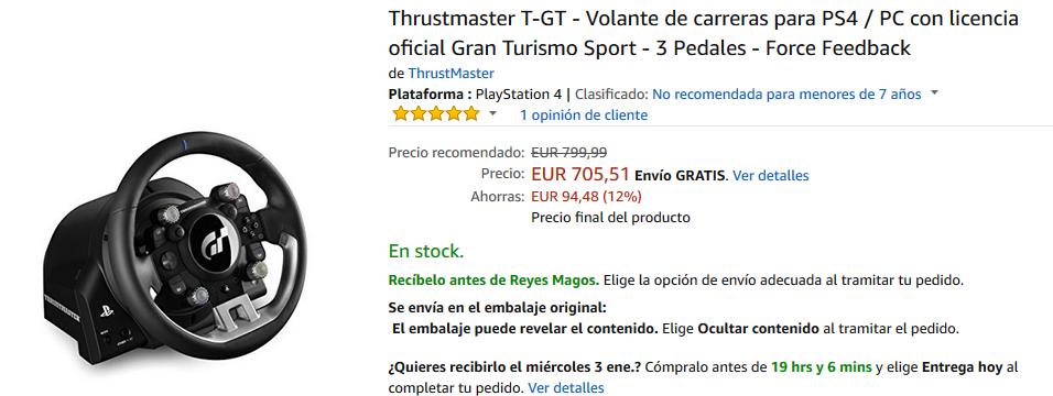 Volante Thrustmaster T-GT para PC y PS4