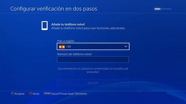 activar verificación en dos pasos PS4