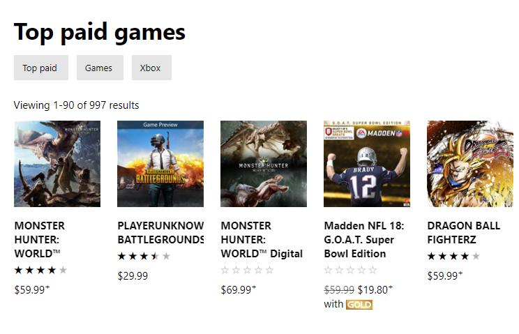 Juegos más vendidos de la semana en Xbox One