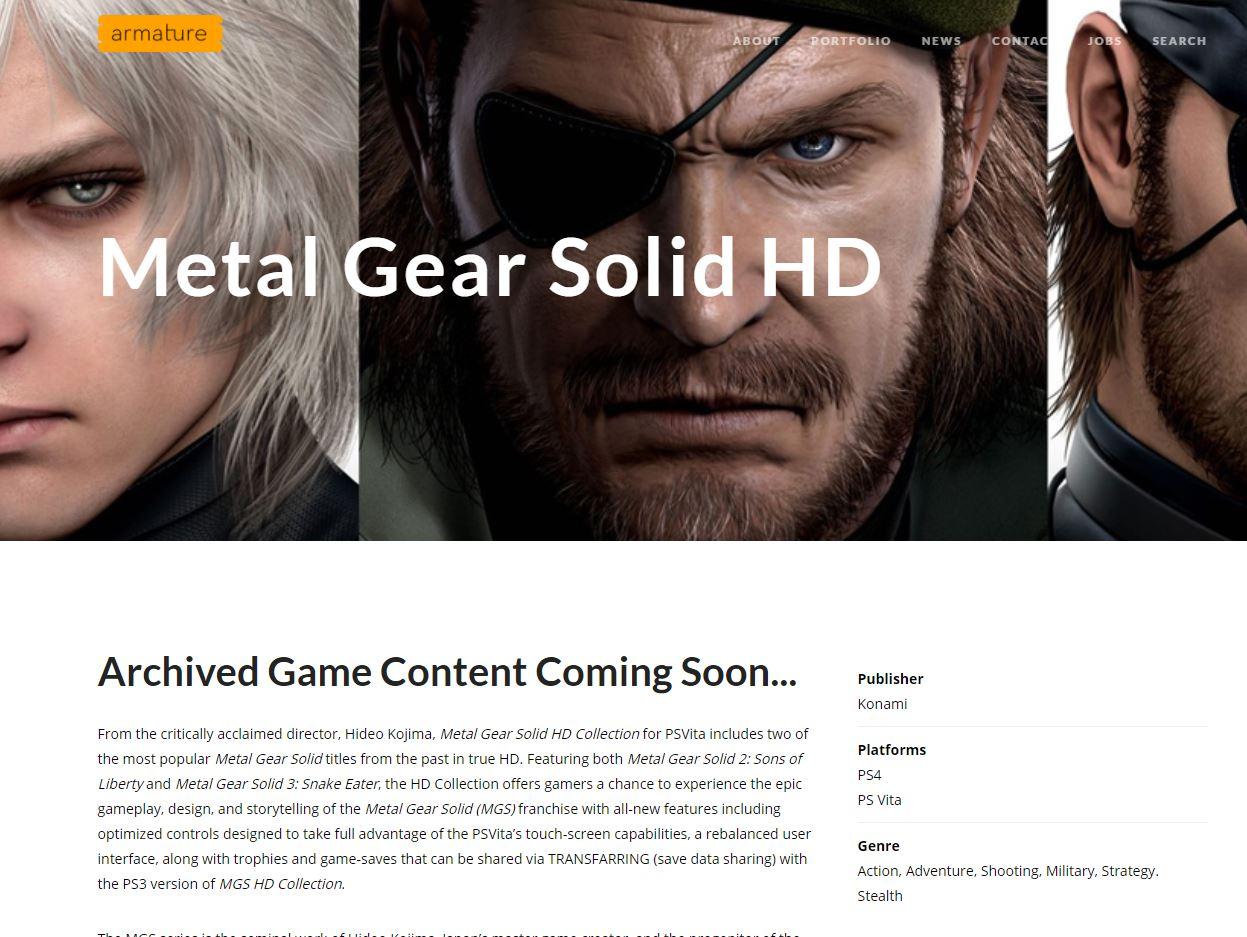 Metal Gear Solid HD Collection listado para PS4
