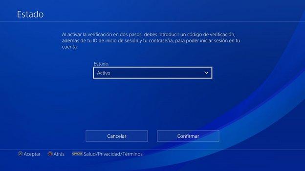 verificación en dos pasos PS4