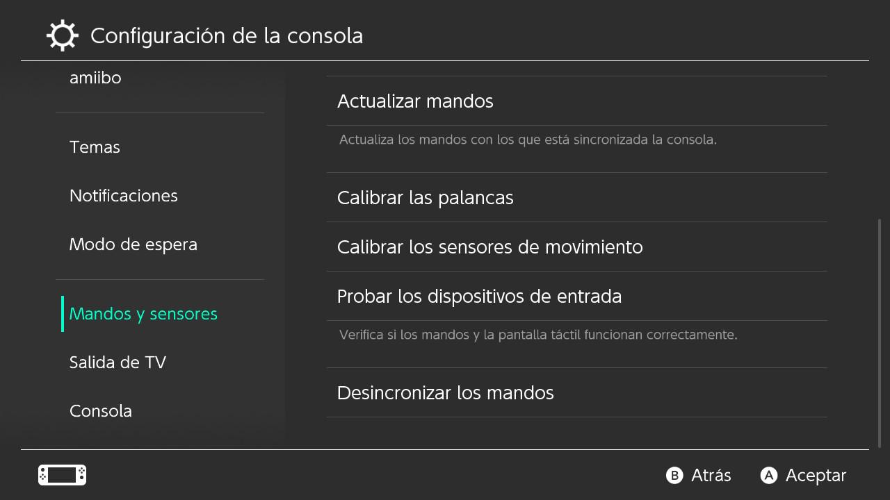 Calibrar mandos Switch