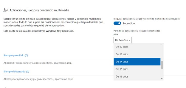 Control parental en Xbox One