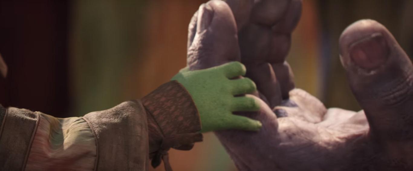 Gamora y Thanos en Vengadores: Infinity War