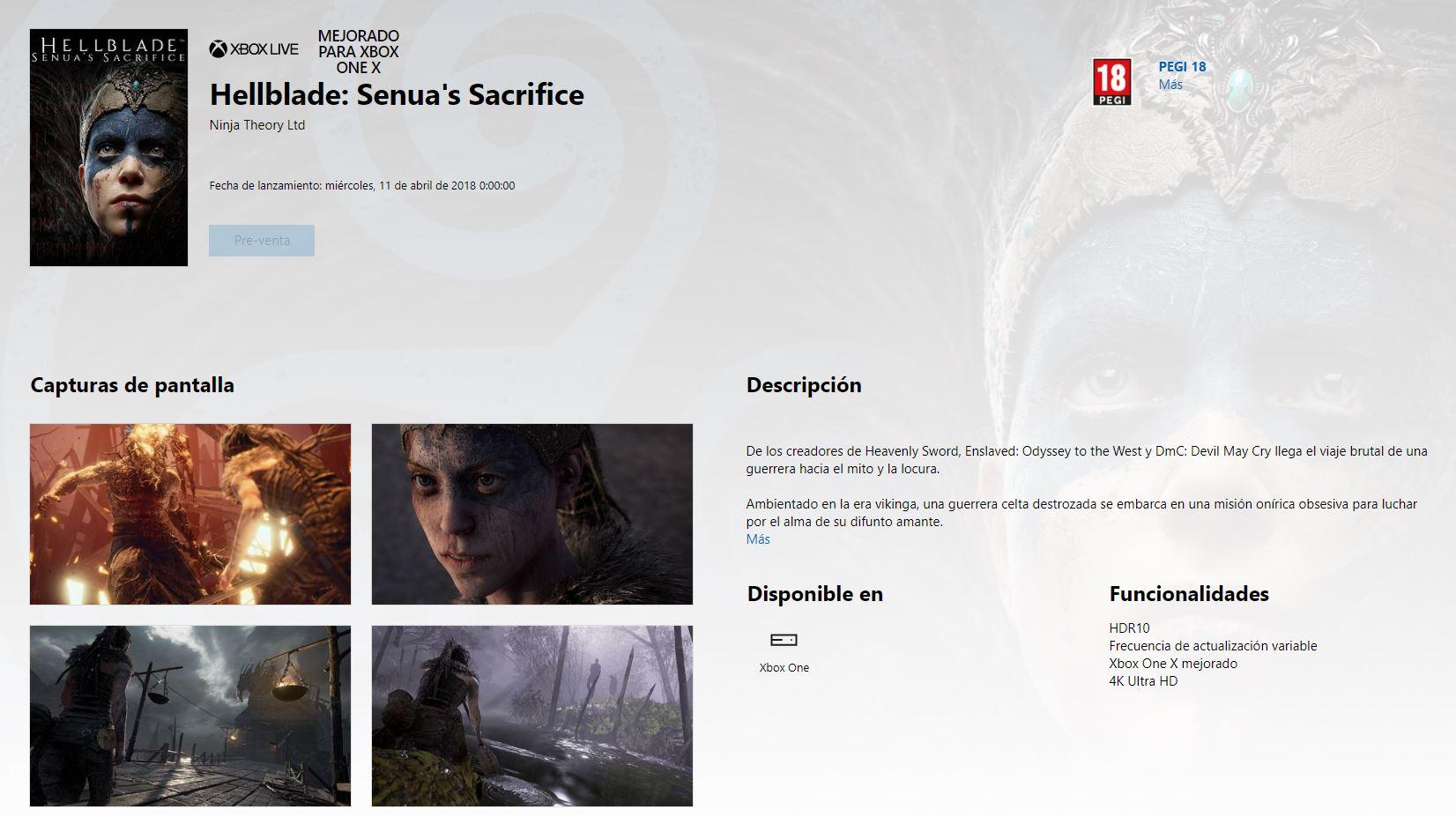 Hellblade en Xbox One