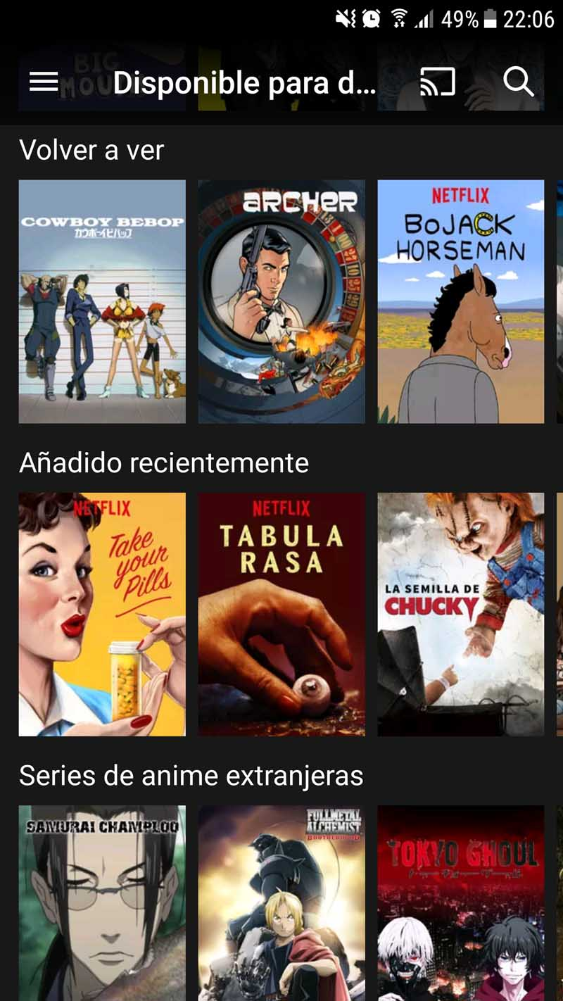 Netflix - Contenidos para descargar