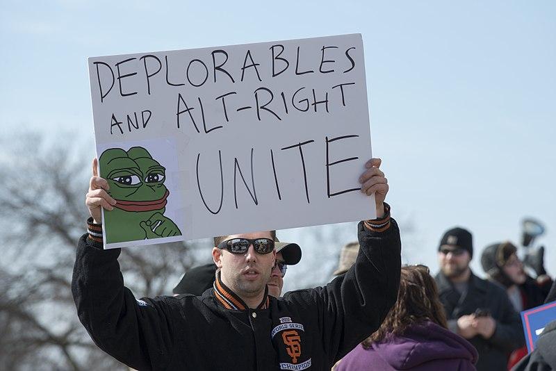 Pepe en un cartel de apoyo a Trump