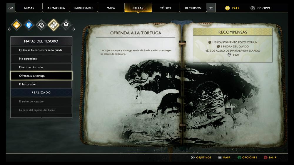 God of War - Mapa del tesoro Ofrenda a la tortuga