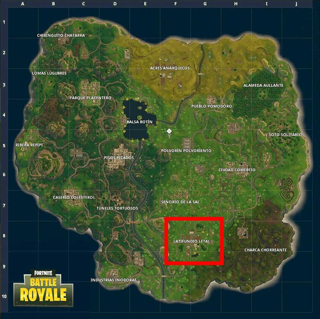 Mapa Fortnite Battle Royale