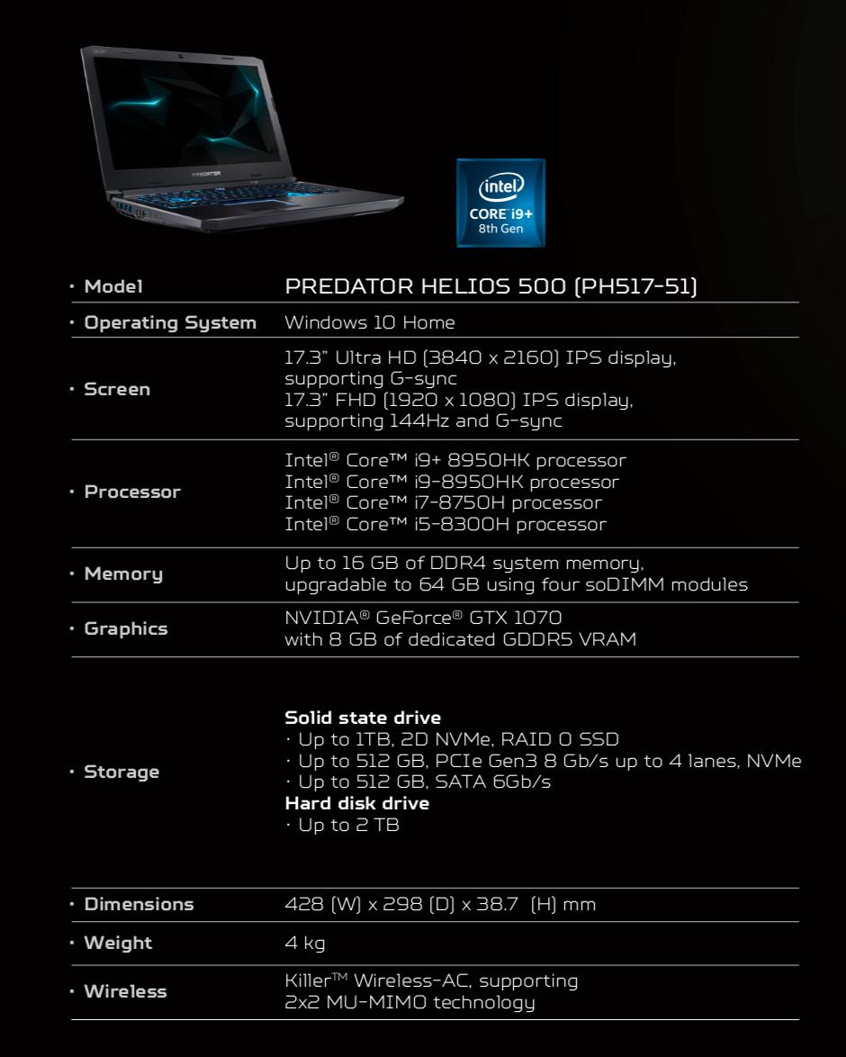 Acer Predator Helios 500 características