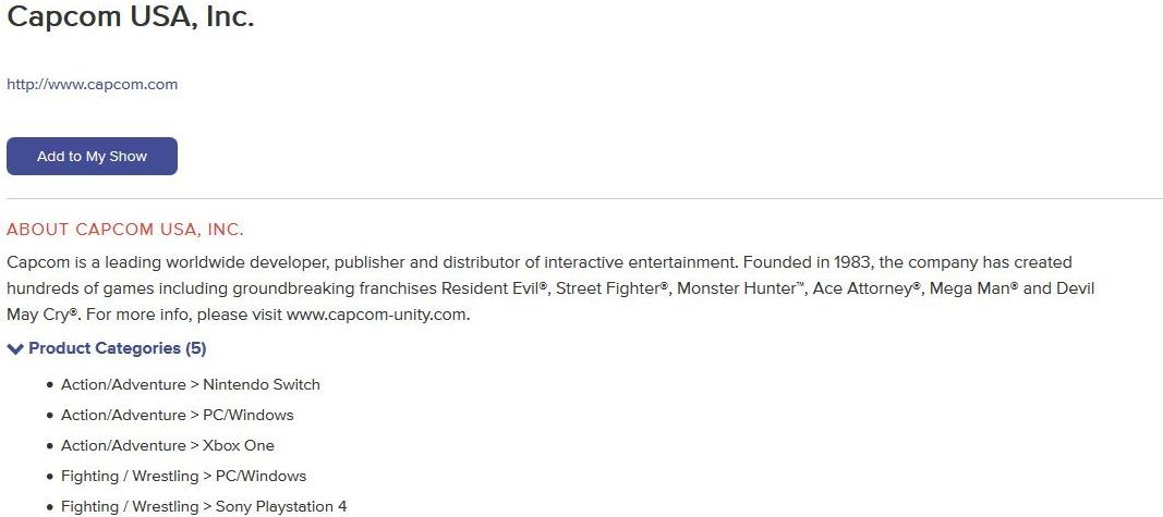 Capcom E3 2018