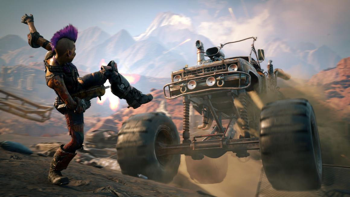 "In case it weren't already clear enough, rolling through the open-world wasteland in a murder mobile is gonna be a standard component of ""Rage 2."""