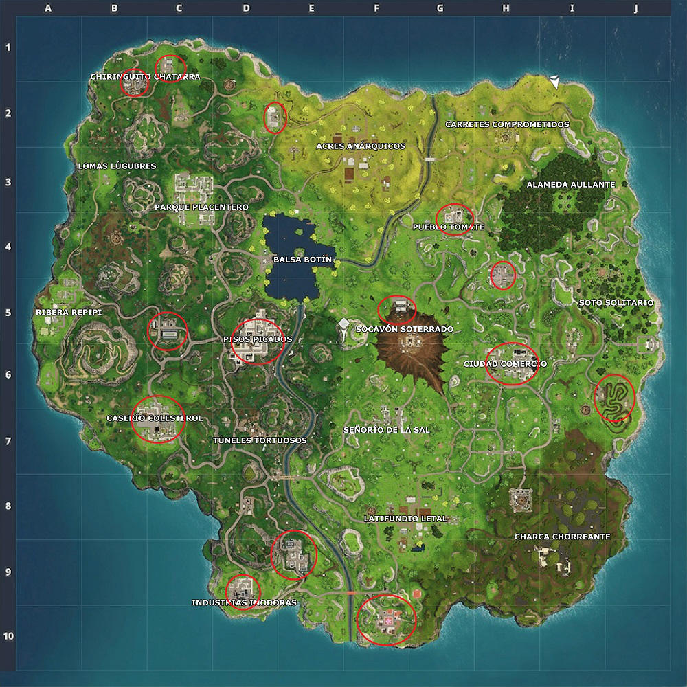 Fortnite Battle Royale - Mapa de carritos de la compra