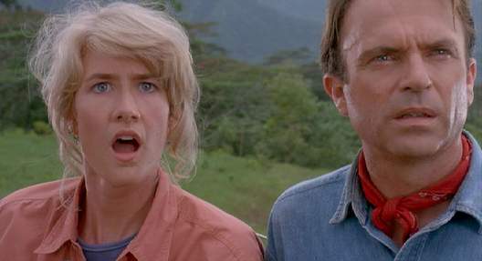Alan Gran y Ellie Sattler en Jurassic Park