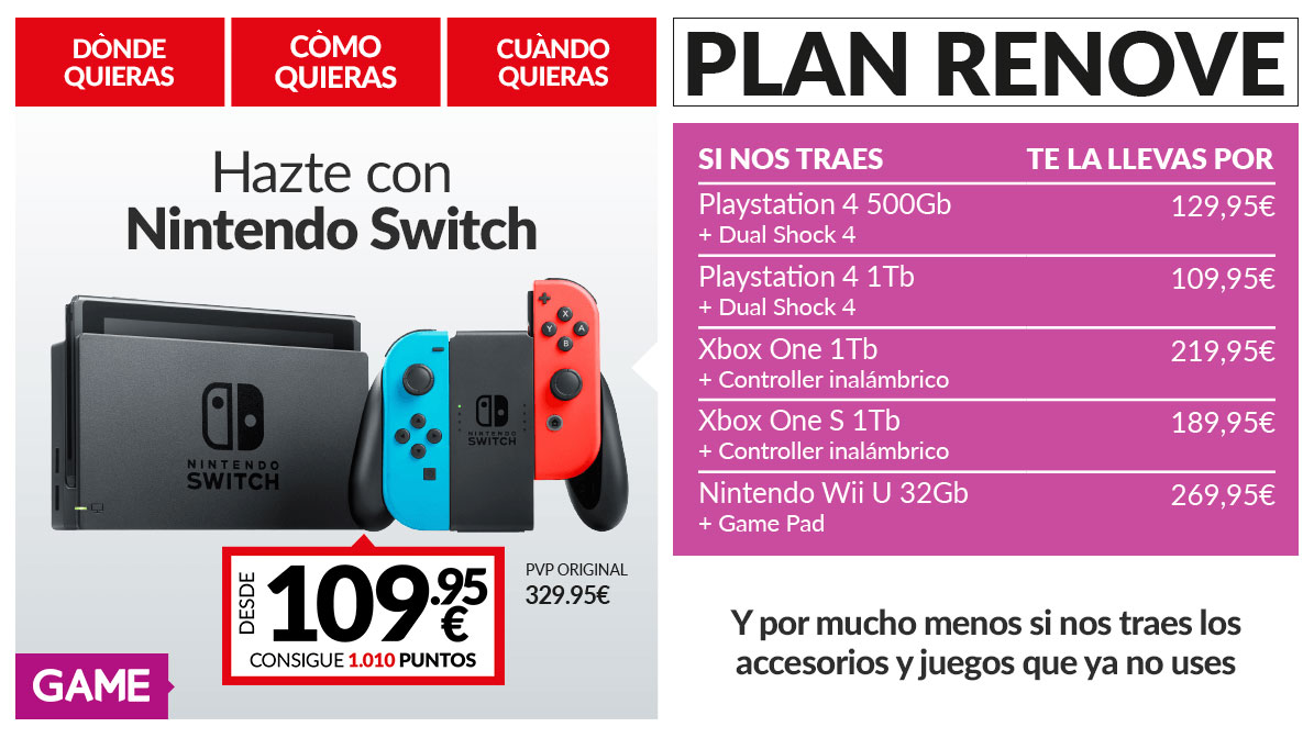 Plan renove Nintendo Switch en GAME