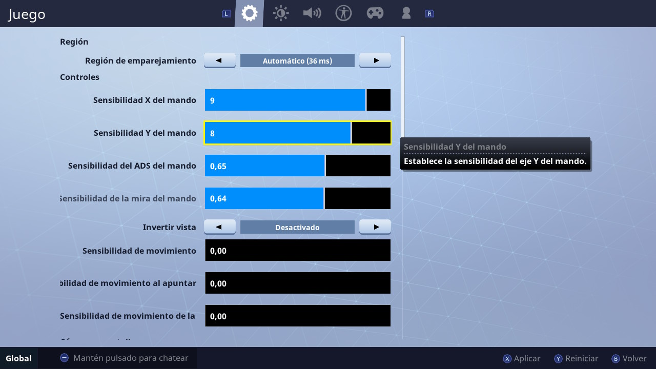 Configuración Fortnite