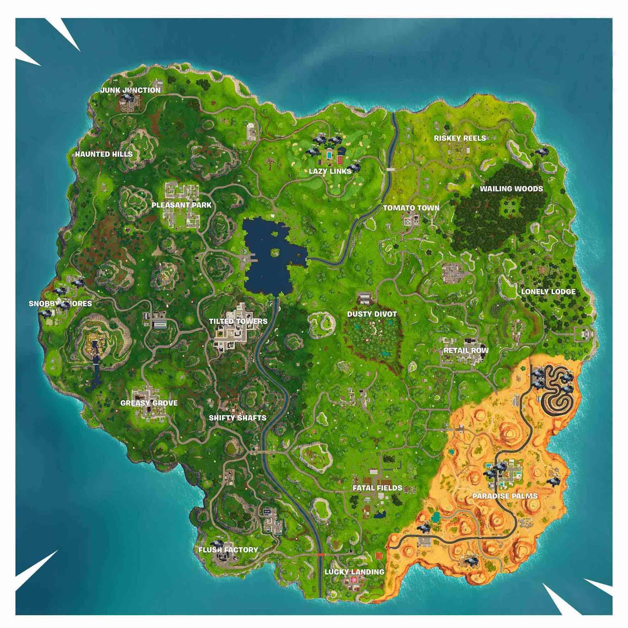 Mapa Fortnite carros de golf actualizado