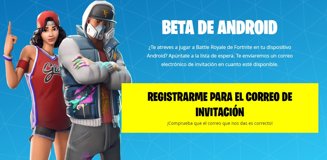 Beta de Fortnite Battle Royale para Android